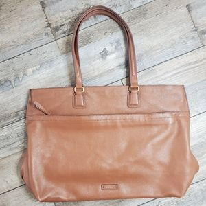 Fossil brown leather tote shoulder bag